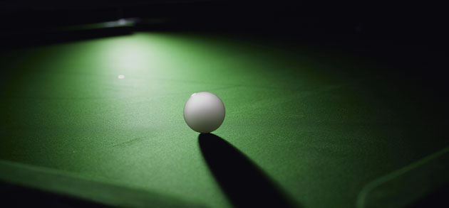 green cloth and cue ball
